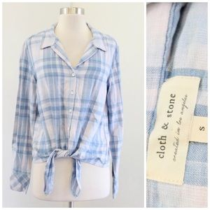 Cloth and Stone Plaid Tie Front Button Down